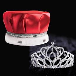 Mirabella Tiara and Crown Set - Red Satin