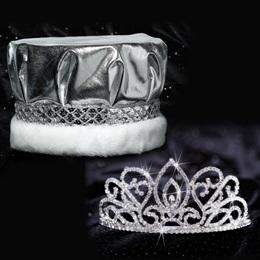 Adele Tiara and Crown Set - Silver Metallic