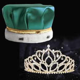 Gold Mirabella Tiara and Crown Set - Satin Crown