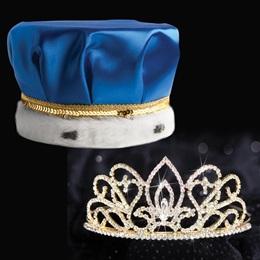 Gold Adele Tiara and Crown Set -Blue Satin Crown