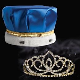Gold Sasha Tiara and Crown Set - Blue Satin Crown