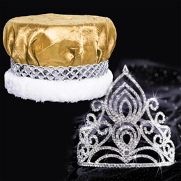 Tiara and Crushed Satin Crown Set - Amelia Tiara