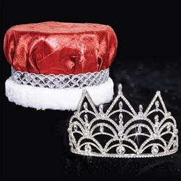 Tiara and Crushed Satin Crown Set - Darlene Tiara