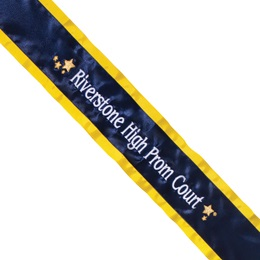 Prom Sash - One Color Edge with One Line of Text & Stars