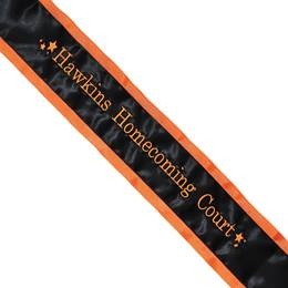 Homecoming Sash - One-color Edge with One Line of Text & Stars