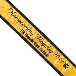 Homecoming Sash with Paw Design - One Color-Edges with Two Lines of Text