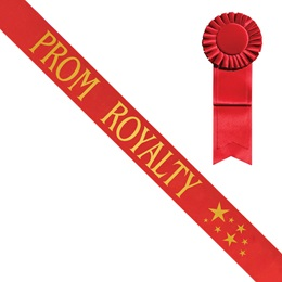 Red Prom Royalty Sash with Gold Stars