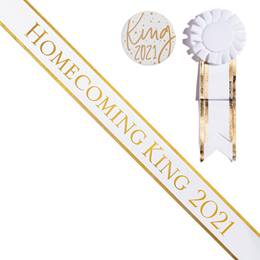 Homecoming King Year Sash, Button, and Rosette Set - White/Gold Edges