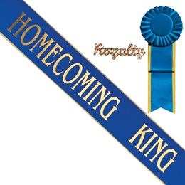 Homecoming King Sash and Royalty Pin Set - Blue/Gold Edges