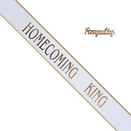Homecoming King Sash and Royalty Pin Set - White/Gold Edges