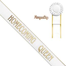 White Homecoming Queen Sash with Gold Edge, Rosette, and Pin Set