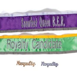 Custom Two-color Edge Sash and Royalty Pin Set