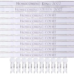 2020 Homecoming King, Queen, and Court Sash Set - White/Silver Foil