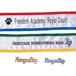 Embroidered Mascot Sash With Royalty Pin - 2-color Edges