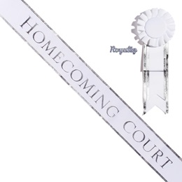 Silver Edge Homecoming Court Sash, Pin, and Rosette Set - White/Silver Print