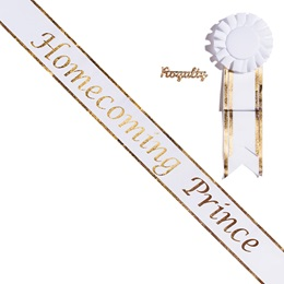 Homecoming Prince Sash with Rosette and Pin Set - White/Gold Edges