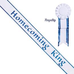 Homecoming King Sash, Pin, and Rosette Set - White/Blue Edges