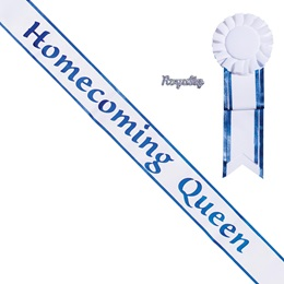Homecoming Queen Sash with Rosette & Royalty Pin - White/Blue Edges