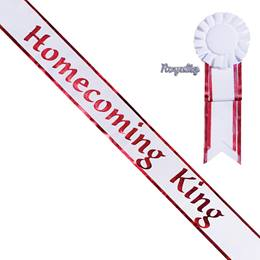Homecoming King Sash, Pin, and Rosette Set - White/Red Edges