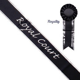 Silver Edge Homecoming Court Sash, Pin, and Rosette Set - Black/Silver Print