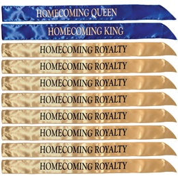 10-piece Homecoming King, Queen, and Royalty Sash Set