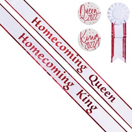 Homecoming King/Queen Sashes and Buttons Set - White/Red Edges