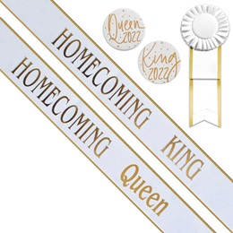 Homecoming King/Queen Sashes and Buttons Set - White/Gold