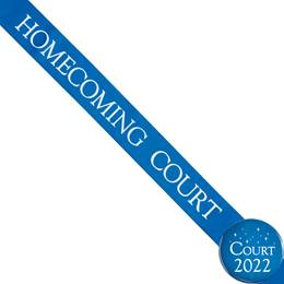 Homecoming Court Ribbon Sash and Star Button Set - Blue