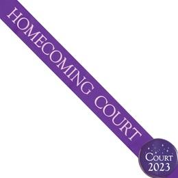 Homecoming Court Ribbon Sash and Star Button Set - Purple