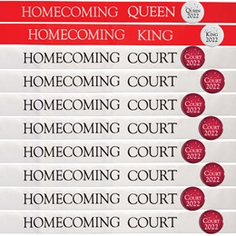 20-piece Homecoming King, Queen, and Court Ribbon Sashes and Buttons Set