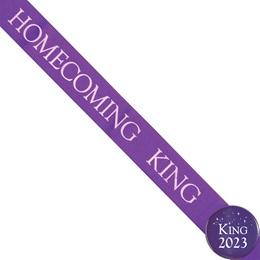 Homecoming King Ribbon Sash and Star Button Set - Purple
