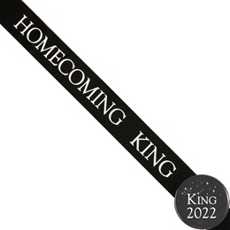 Homecoming King Ribbon Sash and Star Button Set - Red