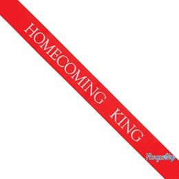 Homecoming King Ribbon Sash with Pin - Red