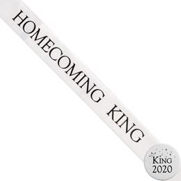 Homecoming King Ribbon Sash and Star Button Set - White