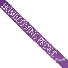 Homecoming Prince Sash with Royalty Pin- Purple