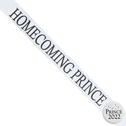 Homecoming Prince Ribbon Sash and Star Button Set - White