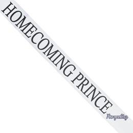 Homecoming Prince Sash with Royalty Pin- White