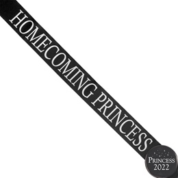 Homecoming Princess Ribbon Sash and Star Button Set - Black