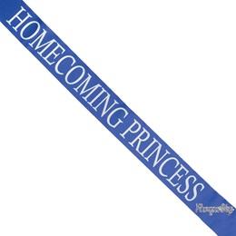 Homecoming Princess Sash with Royalty Pin - Blue