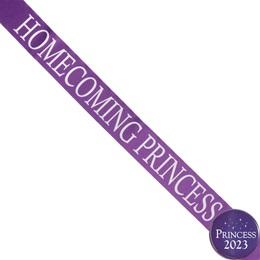 Homecoming Princess Ribbon Sash and Star Button Set - Purple