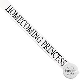 Homecoming Princess Ribbon Sash and Star Button Set - White