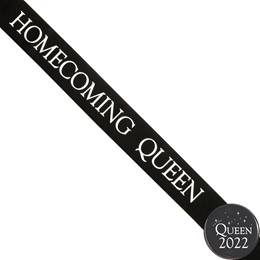 Homecoming Queen Ribbon Sash and Star Button Set - Black