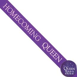 Homecoming Queen Ribbon Sash and Star Button Set - Purple
