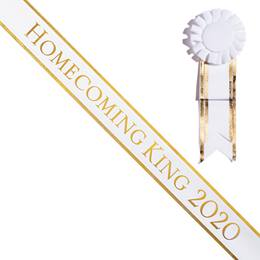 Homecoming King 2020 Sash With Rosette - White/Gold