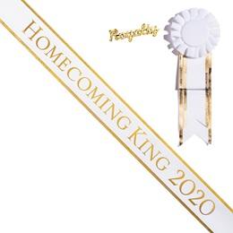Homecoming King 2020 Sash and Royalty Pin Set - White/Gold