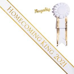 Homecoming King Year Sash and Royalty Pin Set - White/Gold