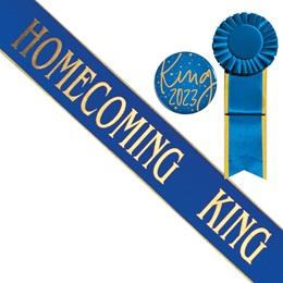 Gold Edge Homecoming King Sash and Button Set - Blue