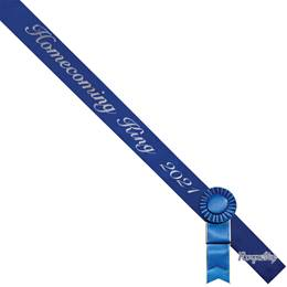 Homecoming King Year Sash, Pin, and Rosette Set - Blue/Silver Script