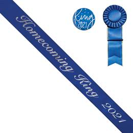 Homecoming King Year Sash, Button, and Rosette Set - Blue/Silver Script