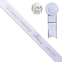 Homecoming King 2020 Sash, Button, and Rosette Set - White/Silver Script